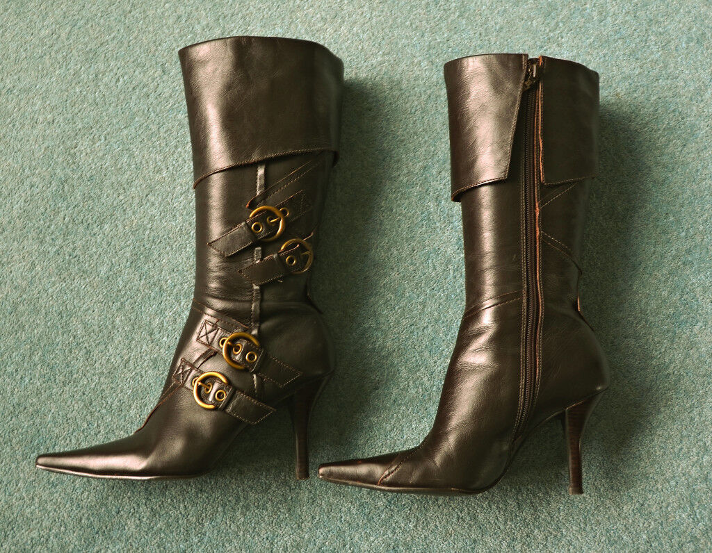Ladies Dark Brown Leather Boots from River Island - Size 5