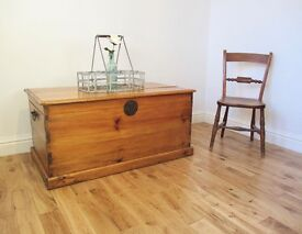 Victorian Teak Storage Chest / Blanket Box / Coffee Table