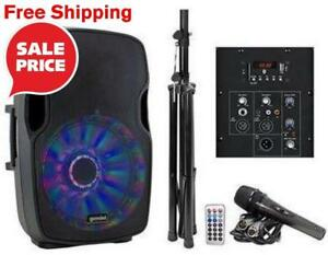 "Gemini AS15BLULTPK 15"" Powered Speaker Pack with LED Lights,  Microphone and Stand great for Home DJ and Parties"