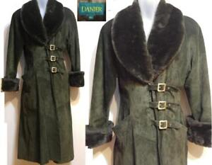 DANIER $2000 COAT Womens M Never worn Suede & Fur Olive Green Full Length Luxury Winter Jacket 12 Mint