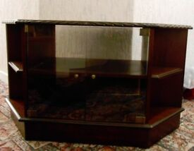 MAHOGANY TV Unit with glass door and display shelves