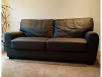 Brown Leather Sofa - Nearly New - RRP £399.99