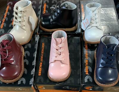 New Unisex Baby Toddler First Leather Walking Shoes 6 Assorted Colors Size 2-6