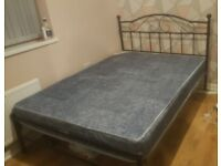 Black Metal Double mBed and Mattress
