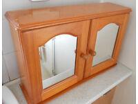 Pine Bathroom Cabinet with Mirror Doors