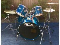Pearl export aqua blue drum kit tuned, Cymbals, sticks, stool