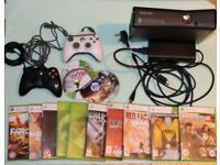 Microsoft Xbox 360 S (slim with WiFi) 250 GB Black Console (PAL) + 14 Top Games + 2 Controllers