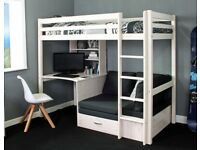 For sale: Two white stilt single beds with desk and sofa/sofa bed