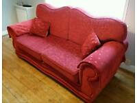 Beautiful Red 3 Piece Suite, Sofa, Arm Chairs and Foot Stool