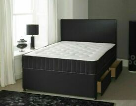 🔵💖🔴Decore your home🔵💖🔴DOUBLE/KING SIZE DIVAN BED BASE WITH OPTIONAL MATTRESS & HEADBOARD