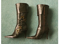 Ladies Dark Brown Knee Length Leather Boots from River Island - Size 5 (38)