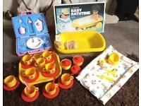70/80s Vintage baby doll playsets ~ baby bath changing mat, baby feeding set, tea set