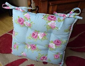 Rose patterned seat pad cushion light blue pink floral vintage-style pattern retro