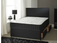 FURNITURE ONLINE-Double & (5ft) King Size Divan Bed Base With Opt Mattress-CHEST OF DRAWERS