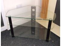 Clear glass 3 tier corner TV stand 900 mm x 600 mm