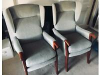 SOLD PENDING COLLECTIONGrey Parker Knoll Wing Back Chairs