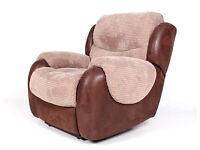 Recliner Lounge Chair 1 of 2 Armchair *FREE LOCAL DELIVERY* Suede Velvet Light Mocha Two Tone