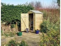 Small Wooden Shed 4ft x 3ft Ideal for city gardens. Delivered in large sections for easy assembly