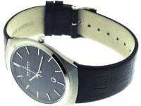 Skagen Men's Quartz Black Dial Analogue Display and Black Leather Strap 925XLSLB