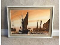Original signed oil painting of ships by French/Cornish artist, J. Passeur