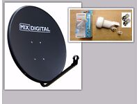 1m Satellite Dish with Single LNB receiver and F-conectors