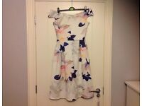 DV8 White & Purple Floral Print Midi Dress (M)
