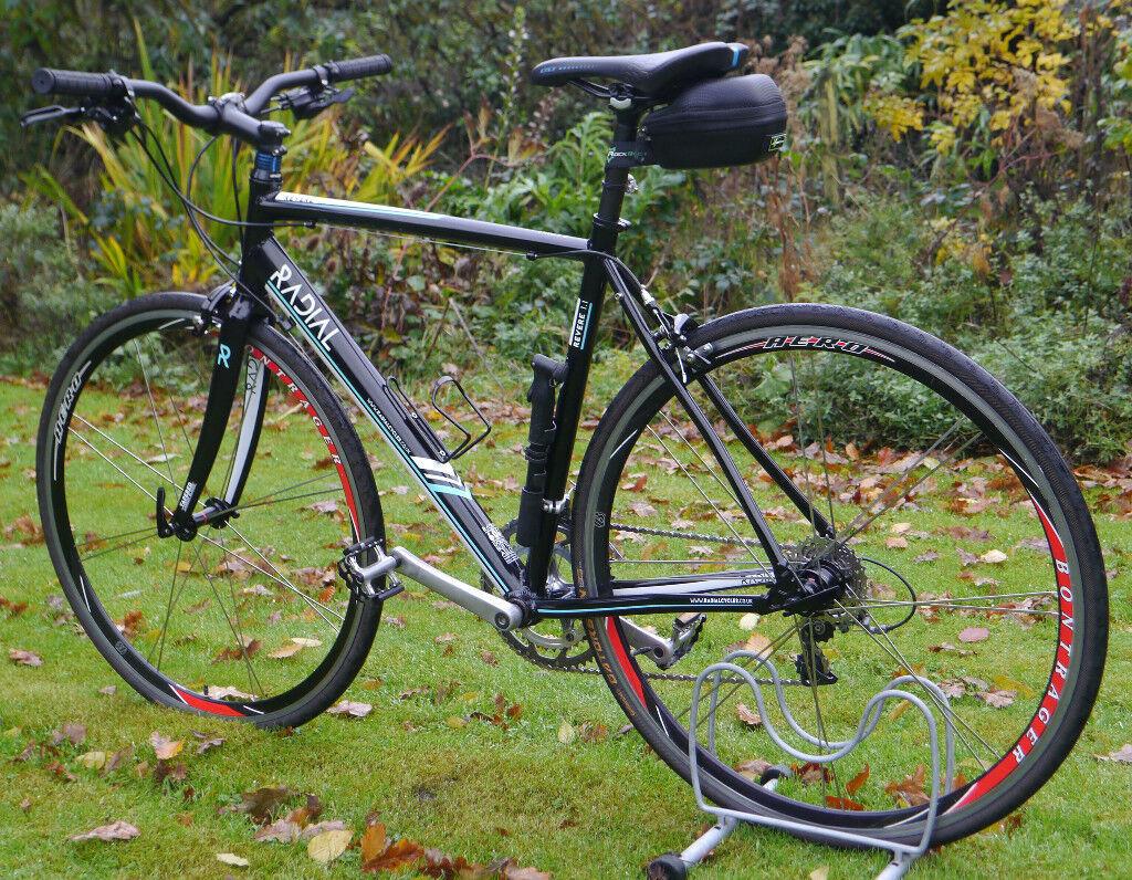 NEW Radial flat bar road bike, 54cm Aluminium frame, carbon forks Shimano 105 20 speed DT Swiss 700c