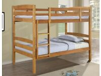 💥Popular Bed Frame💥NEW SINGLE WHITE WOODEN BUNK BED -- WHITE AND PINE COLOURS