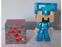 Minecraft Diamond Steve Collectable Vinyl Figure with Redstone Ore Light