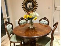Lovely Italian style dining table and 4 chairs