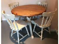 Solid pine dropleaf round table & 4 chairs