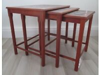 VINTAGE RETRO MID CENTURY NEST OF TABLES, TEAK, TILED, 1970's, DANISH,