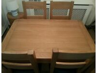 BUCKHURST HILL IG9 6AS Solid Oak Dining Table + 4 Solid Oak Espresso Brown Chairs Rounded corner