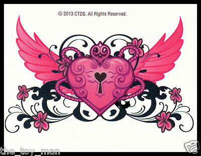 LOWER BACK TEMPORARY TATTOO~ANGEL WINGS WINGED PINK LOVE HEART VALENTINES DAY