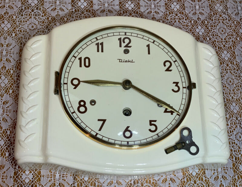 Vintage Key Wind Diehl Procelain Kitchen Clock, 50-60s, made in Germany