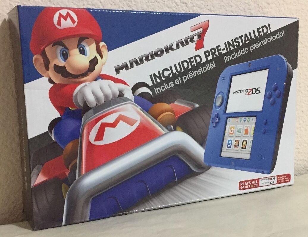 Brand New Nintendo 2DS Mario Kart 7 Bundle (Electric Blue) Handheld System