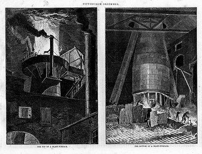 PITTSBURGH STEEL INDUSTRY ANTIQUE ENGRAVING, BLAST FURNACE STEEL WORKERS HISTORY