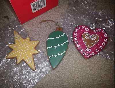 FITZ & FLOYD COOKIE ORNAMENTS LOT 3 Red Heart Yellow Star Green Bulb Ornament
