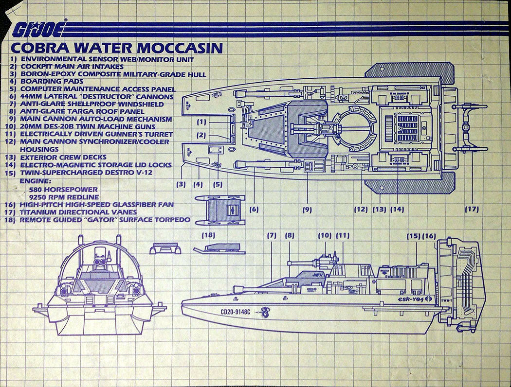 1 Vintage GI Joe Cobra Dreadnok ARAH Blueprints Instruction Direction Sheet