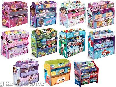 KIDS GIRLS BOYS DISNEY MULTI-BIN TOY ORGANIZER BOXES STORAGE-MULTIPLE CHARACTERS