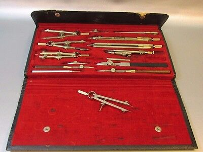 Vintage Compass 1816 Germany Drafting Engineer Drawing Set Case Tools - NICE