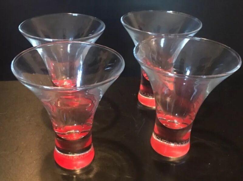4 BACARDI RAZZ SHOT GLASSES BACARDI BAT LOGO CURVED