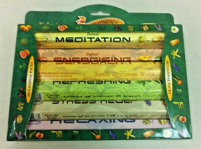 Tulasi Aromatherapy Incense Kit 6 in1 Gift Set: 6 Packs of 20 Sticks = 120