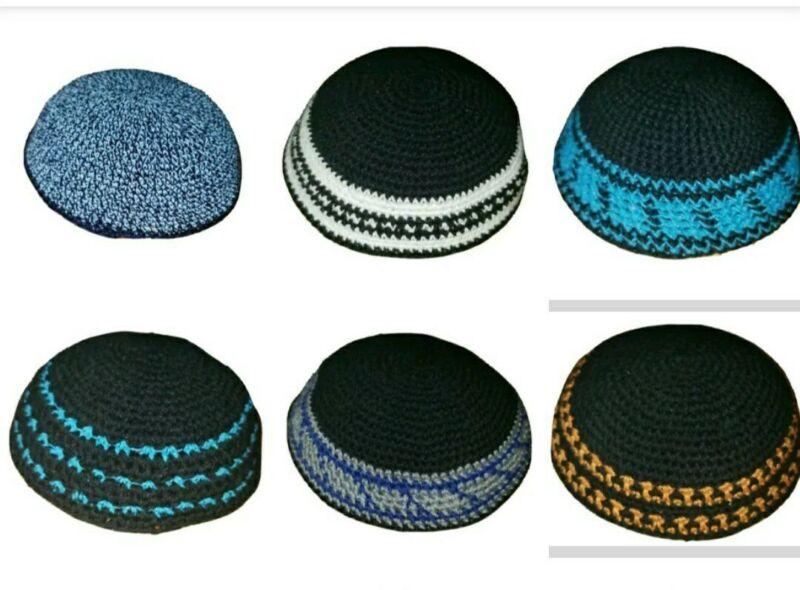 Handmade Knitted kippah kippot kipah Yarmulke Yamaka Judaica skull cap 18cm