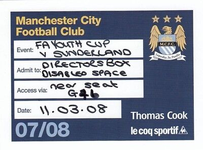 Ticket - Manchester City Youth v Sunderland Youth 11.03.08 FAYC Directors Box