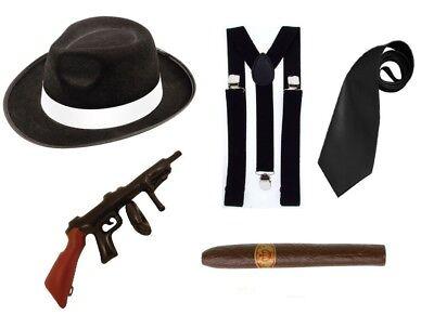 1950s Gangster Halloween Costumes (1920s Gangster Black White Fancy Dress Costume Al Capone Mafia Mob Boss 30s)