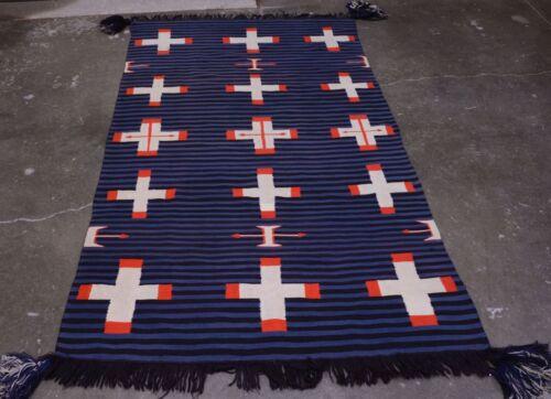 """Antique Navajo Germantown Moki Shoulder Blanket 48"""" x 78"""" Spiderwoman Cross 1890"""