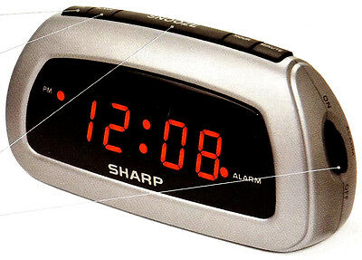 Sharp LED Digital Alarm Clock Electric w/ Battery Backup Snooze Sleep Silver
