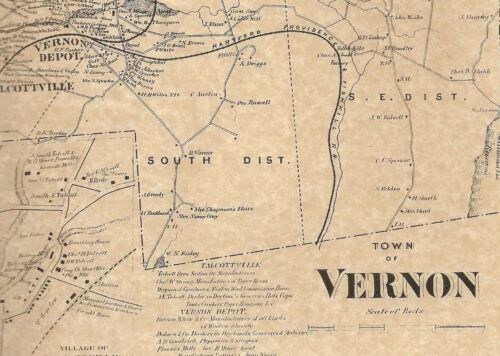 Rockville Talcottville Vernon CT 1869 Map with Homeowners Names Shown