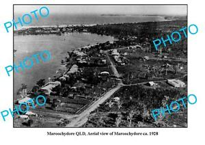 OLD-LARGE-PHOTO-MAROOCHYDORE-QUEENSLAND-AERIAL-VIEW-c1928